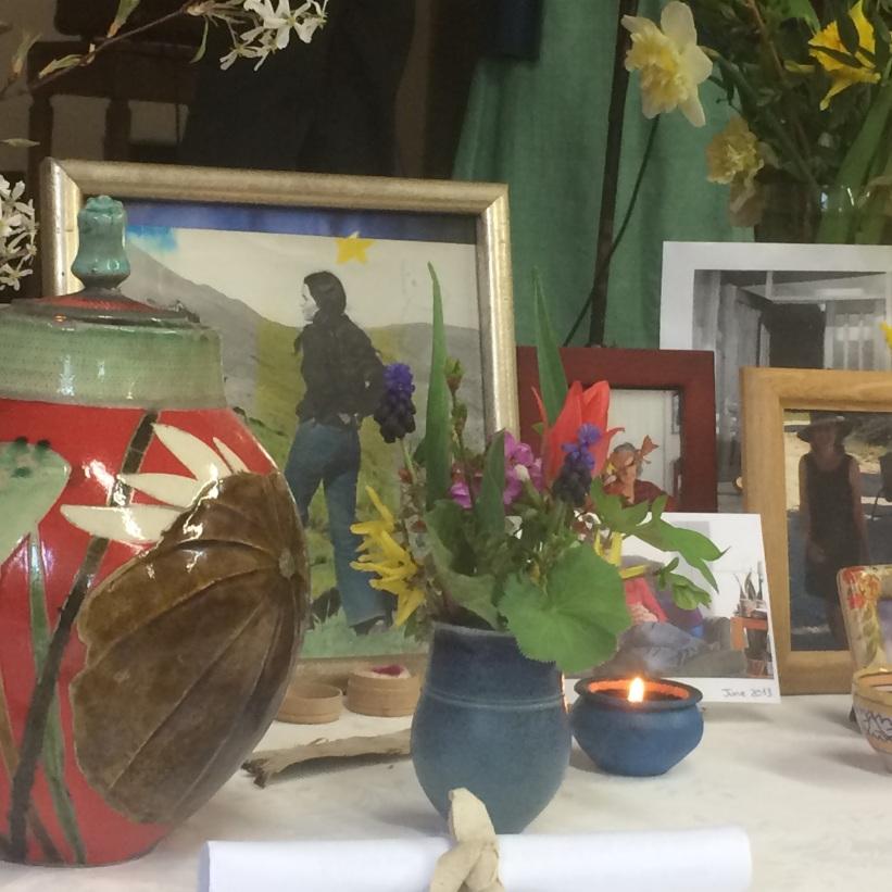 Akk's urn and Joan's flowers