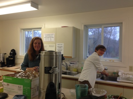 Susie and Tracey doing dishes!